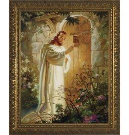"""WJ Hirten 11"""" x 14"""" Christ Knocking in Golden Frame"""