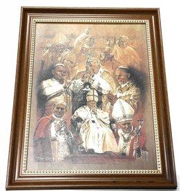 """WJ Hirten 11"""" x 14"""" Pope John Paul II Collage in Walnut Frame"""