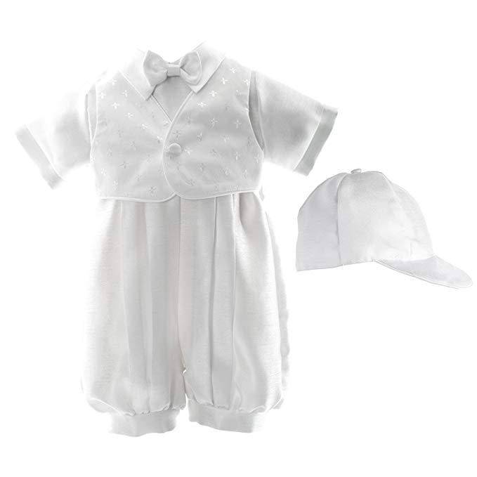 Lauren Madison Short Romper with Cross and Dobby Vest Boy's Baptism Clothing Set [1514]