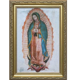 """Nelson Fine Art 8"""" x 12"""" Our Lady of Guadalupe in Golden Frame"""