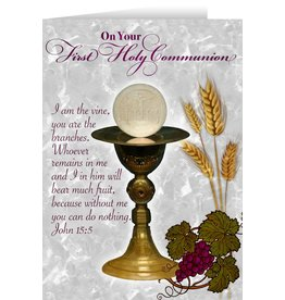 Nelson Fine Art Vine and Branches Chalice First Communion Greeting Card