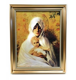 """WJ Hirten 11"""" x 14"""" Our Lady of the Palm in Golden Frame"""