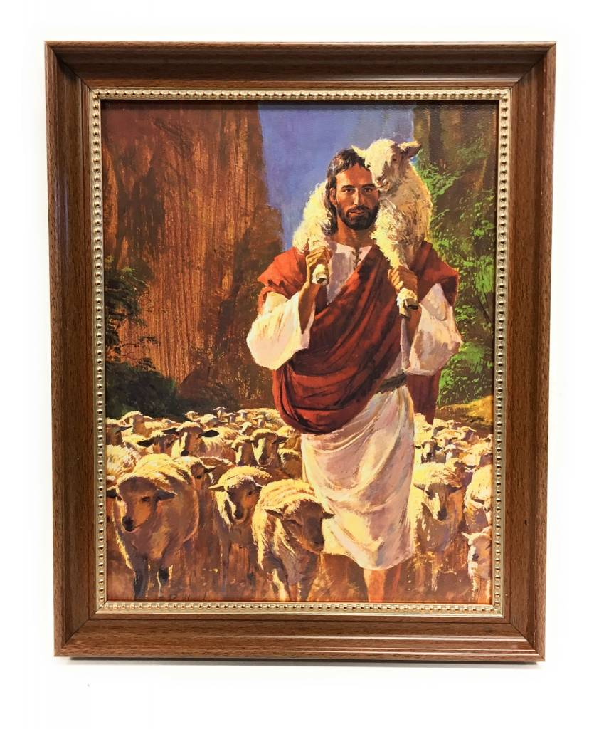 "WJ Hirten 11"" x 14"" Hook The Good Shepherd in Walnut Frame"