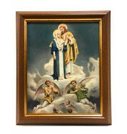 """WJ Hirten 8"""" x 10"""" Chambers Jesus with Mary in Walnut Frame"""