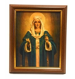 "WJ Hirten 8"" x 10"" Madonna of the Rosary with Walnut Frame"