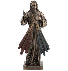 """Goldscheider of Vienna 8"""" Divine Mercy Bronzed Resin Lightly Hand-Painted Statue by Veronese"""