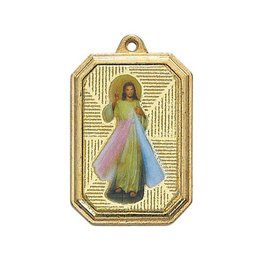 "McVan 1"" Divine Mercy Medal on 18"" Gold Plated Chain"