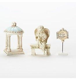 "Roman, Inc Angel Garden 4"" 3 Piece (Gazebo, Angel on a Bench, and Yard Sign) Mini Figurine Set"