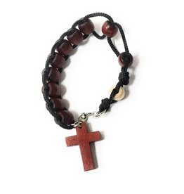 Devon Trading Company 1 Decade Slide Rosary Bracelet with Wood Beads