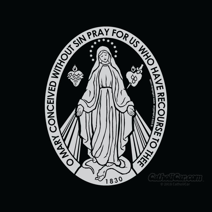 Miraculous Medal Decal Queen Of Angels Catholic Store