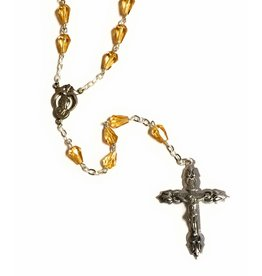 Elite Fashion Accessories Corp Glass Teardrop Bead Rosary - Orange