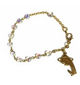Elite Fashion Accessories Corp Glass Shaped Bead Rosary Bracelet