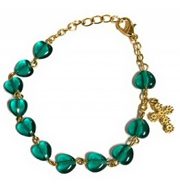 Elite Fashion Accessories Corp Green Glass Heart Rosary Bracelet