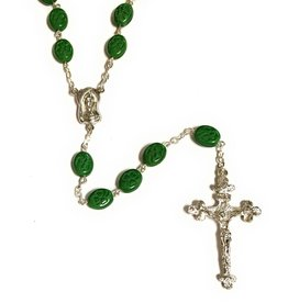 Elite Fashion Accessories Corp Green Irish Clover Glass Bead Rosary