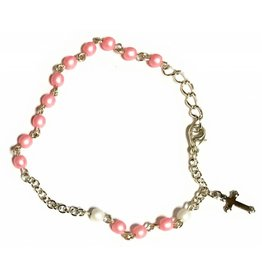 Elite Fashion Accessories Corp Pink Glass Bead Rosary Bracelet with White Our Father Beads