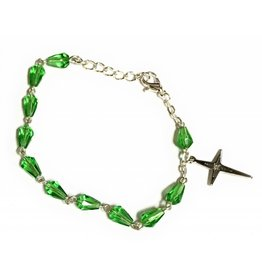 Elite Fashion Accessories Corp Green Glass Teardrop Rosary Bracelet
