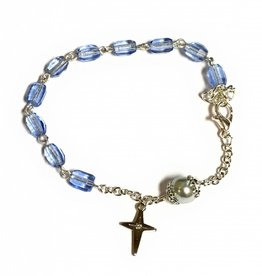 Elite Fashion Accessories Corp Light Blue Multifaceted Bead Rosary Bracelet with 8mm Capped Our Father Bead