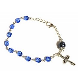 Elite Fashion Accessories Corp 6mm Blue Multifaceted Bead Rosary Bracelet with 8mm Capped Our Father Bead