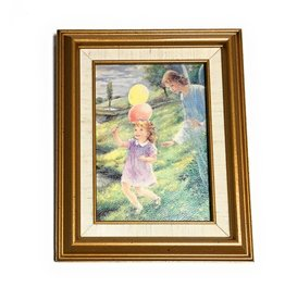 "John Brandi 5"" x 7"" Framed Guardian Angel With Girl"