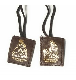 MDS Leather Brown Scapular with Brown Cords