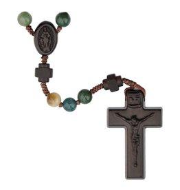 Sine Cera Rosary Five Decade Multicolor Onyx/Jujube Wood 6mm