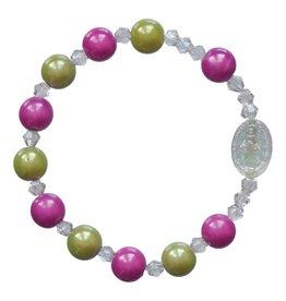 Sine Cera Rosary Bracelet Children's Rainbow Green/Pink 8mm