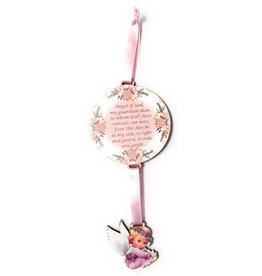 Moshy Brothers, Inc Pink Angel Crib Medal with Guardian Angel Prayer