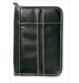 Zondervan Bible Cover Distressed Leather-Look Black with Stitching Accent LG Book