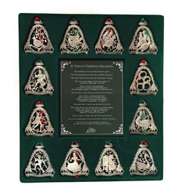 "Cathedral Art 12 Days of Christmas Ornament Set - Silver Elaborate Ornaments 3"" Tall"