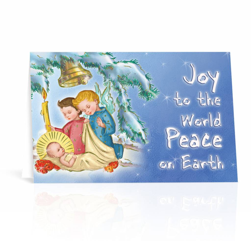 Box of 10 Joy To The World Peace On Earth Christmas Cards - Queen of ...