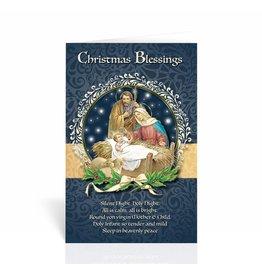 "WJ Hirten Box of 10 ""Christmas Blessings"" Silent Night Nativity Christmas Cards"