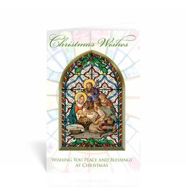 "WJ Hirten ""Christmas Wishes"" Nativity Stained Glass Christmas Card"