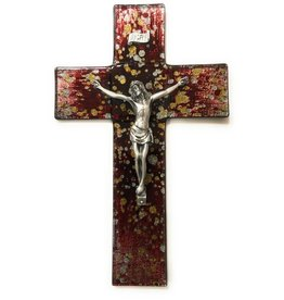 """WJ Hirten 10"""" Gold and Silver Random Speckle on Red Stained Glass Crucifix Pewter Corpus"""