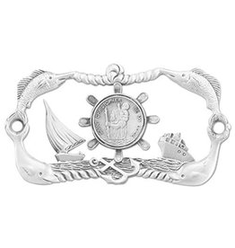 "WJ Hirten St. Christopher ""Protect My Boat"" Plate with Screws"