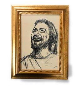 "WJ Hirten 5"" x 7"" Laughing Jesus in Golden Frame"