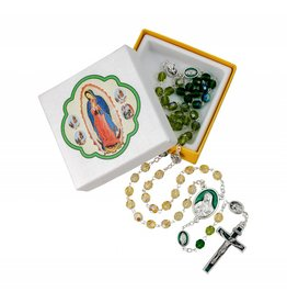 WJ Hirten Our Lady of Guadalupe Tri-Colored Glass Bead Rosary