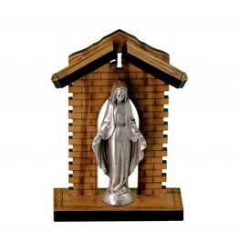 """WJ Hirten 3"""" Our Lady of the Miraculous Medal Statue in Olive Wood Grotto"""