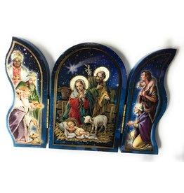 "WJ Hirten 5"" x 3.5"" Blue Nativity Wood Triptych"