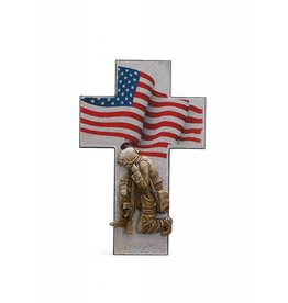 "Napco 14"" Kneeling Soldier with American Flag Resin Cross"
