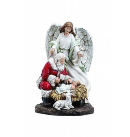 "Napco 9 1/2"" Kneeling Santa with Angel Adoring The Baby Jesus"