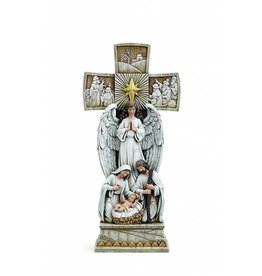 "Napco 14"" Holy Family with Angel Nativity Cross Statue"