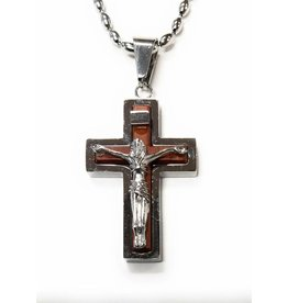 """HJ Sherman Stainless Steel Crucifx Pendant with Wood Inlay on a 24"""" Bead-ball Chain"""
