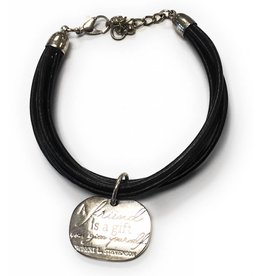 Giftcraft A Friend is a Gift You Give Yourself Leather and Alloy Bracelet