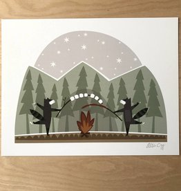 Allie Ogg Print- Raccoon S'mores