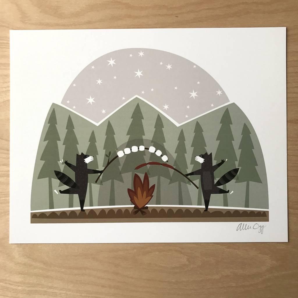 Allie Ogg Print- Raccoon S'mores