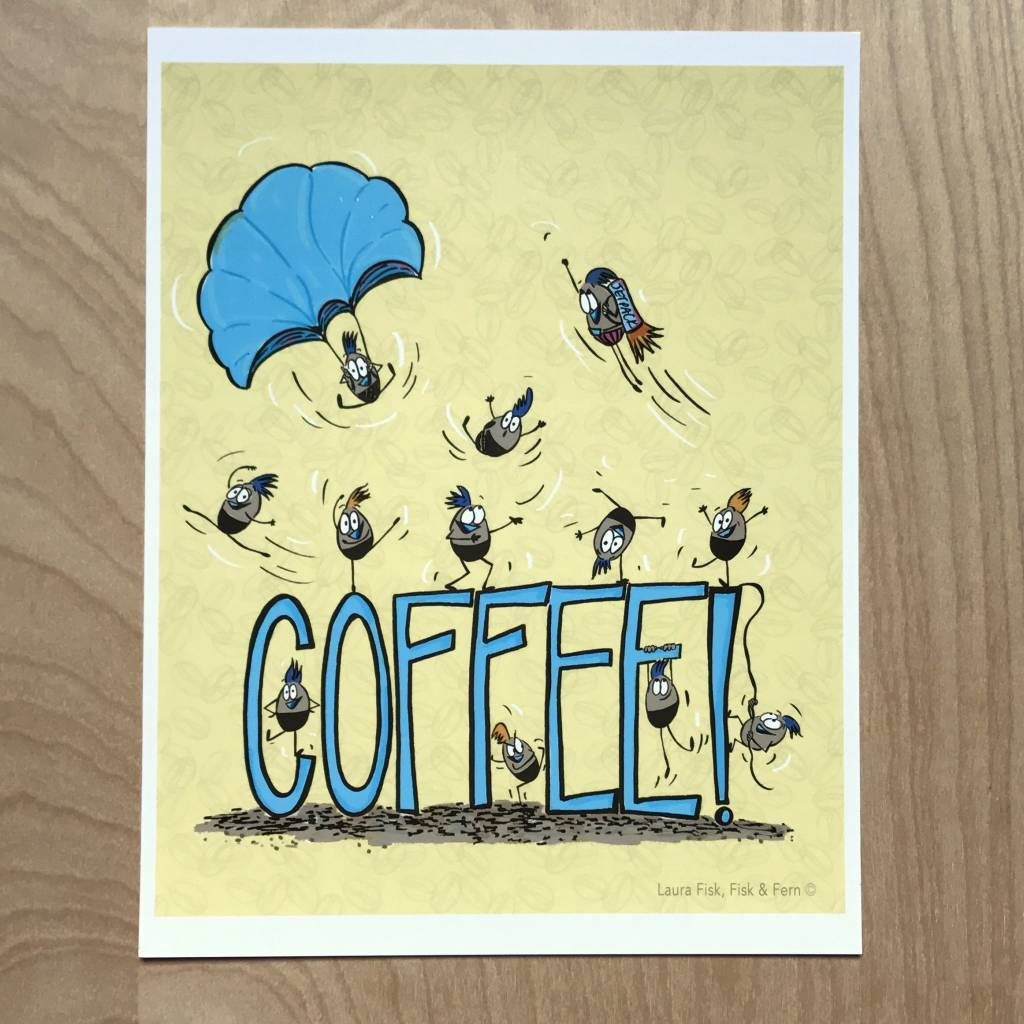 Fisk and Fern Funny Food Print - Coffee Beans