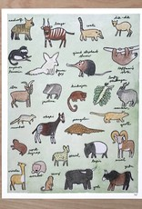 """Print- The Obscure Animal Alphabet 9"""" x 12"""""""