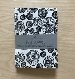Corvidae Tea Towel- Tree Rings
