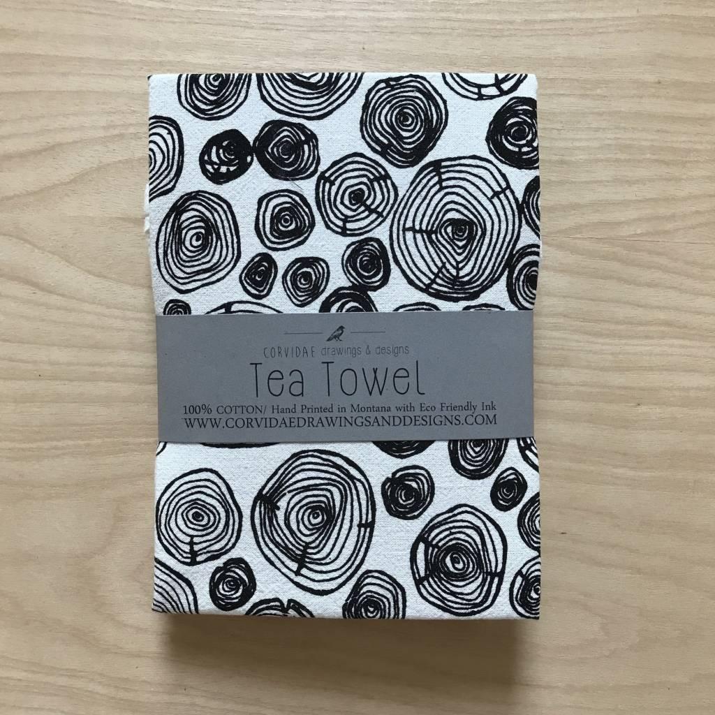Corvidae Tea Towel- Tree Rings