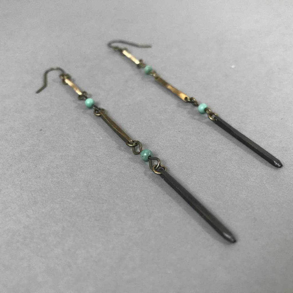 Earrings- Ombre Spike, Turquoise